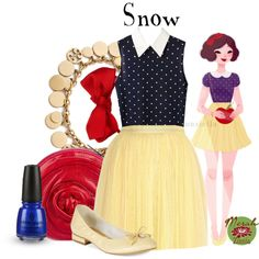 A fashion look from April 2015 featuring polka dot blouse, tulle skirt and yellow flats. Browse and shop related looks.