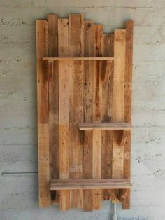 Pallet Furniture Projects Pallet wall with pallet Shelf. I use them as flower pots bases. Idea sent by gur shoshani ! - Pallet wall shelves made with repurposed pallets. They can be used as flower pots bases for a vintage garden or …