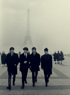 Beatles in Paris | eiffel tower | france | UK rock n roll | music | icon | black suits | winter | fog | walk |
