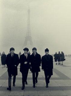 Beatles in Paris | eiffel tower | france | UK rock n roll | music | icon | black suits | winter | fog | walk |