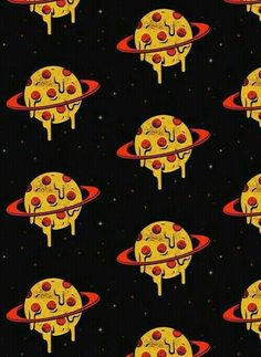 Image about food in Yeyy by Pawker Saldaña on We Heart It pizza, wallpaper, and planet image Tumblr Backgrounds, Tumblr Wallpaper, Wallpaper S, Pizza Kunst, Pizza Art, Cartoon Wallpaper Iphone, Alien Art, Gorillaz, Cute Food