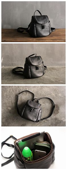 Handmade Top Grain Leather School Backpack Small Travel Rucksack Casual Daypack SQ03