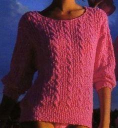 Une couleur très estivale pour ce pull. On tricote actuellement les pulls plus près du corps, choisissez peut-être une taille en dessous de la vôtre ; Tailles : 36 -38/40 - 42/44 - 46 Aiguilles N° 2,5 et 3,5 Le pull à plastron Le pull au bas ajouré Le...