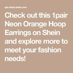 Check out this 1pair Neon Orange Hoop Earrings on Shein and explore more to meet your fashion needs! Cami Crop Top, Cropped Cami, Cami Tops, Layered Chain Necklace, Layered Chains, Mirror Stickers, Curtain Patterns, Heart Decorations, Satin Skirt