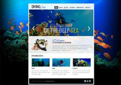 Give your site the extra look with the fresh solution - Free Website Template with jQuery Slider for Diving Club! Free Website Templates, Psd Templates, Slider Design, Header Banner, Banner Images, Web Design Company, Menu Design, Seo Services, Design Web