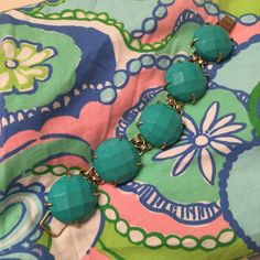 Kendra Scott Cassie Bracelet This bracelet is brand new without tags! The stones are a gorgeous shade of turquoise with gold hardware. It is a great pop-of-color statement piece  Kendra Scott Jewelry Bracelets