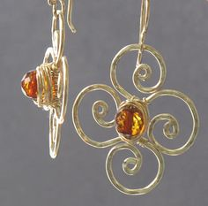 Victorian 193 Hammered flowers with amber by CalicoJunoJewelry, $70.00