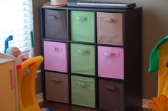 Closetmaid Cubes from Target. One in the foyer and 1 or 2 in Chrissy and #2's Room.