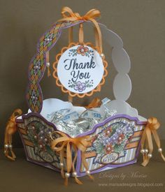 Designs by Marisa: JustRite Papercraft May Release Day Two - Thank you Candy Basket