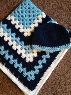 Hand Crocheted Baby Blanket And Matching Hat by HarlysCreations, $35.00