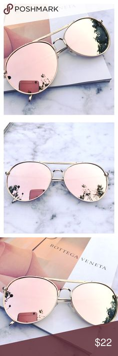 Just In- Rose Gold Mirrored Sunglasses, Aviator Stylish pair of rose gold Aviator  sunglasses. Rose Gold Mirrored Sunglasses. Trending sunglasses. UV protection. Brand new. Price is firm unless bundled. Thank you  Accessories Glasses