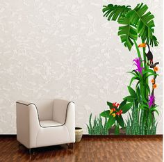 Wall Sticker Design Ideas wall stickers that lend a personal touch Tropical Nature Birds And Tree Wall Stickers Lobby Design