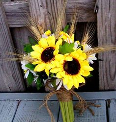 Fall Wedding Bouquets With Sunflowers | Rustic Sunflower Bridal Bouquet Twine Wrap Custom by AmoreBride