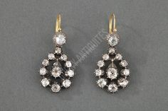 awesome Boucles d'oreille pendants en or et argent, diamants - Vers 1890