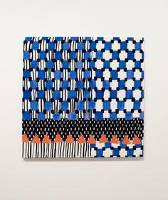 motif géométrique : carrés, triangles, lignes, bleu, saraplantef evecastryck