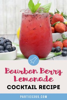 This Bourbon Berry Lemonade cocktail is an easy spring drink that will please a crowd! Get the simple cocktail recipe, made with fresh strawberries and blueberries for your next summer party! For A Crowd Bourbon Berry Lemonade Cocktail Recipe St Patrick's Day Cocktails, Refreshing Summer Cocktails, Beach Cocktails, Spring Cocktails, Summer Bourbon Cocktails, Summer Drinks, Lemonade Cocktail, Cocktail Menu, Simple Cocktail Recipes