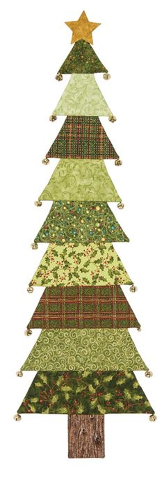 Evergreen Christmas tree quilting kit and pattern from Keepsake Quilting. Kit includes Wendy Hager's directions, fabric for the top and backing, and jingle bells. Could make as a table runner Fabric Christmas Trees, Christmas Tree Pattern, Christmas Sewing, Noel Christmas, Christmas Decorations, Christmas Ornaments, Christmas Tree Quilted Wall Hanging, Christmas Blocks, Christmas Quilting
