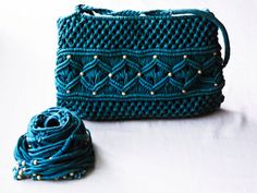 Macrame Bag and Belt Set  Teal by dmtgun3 on Etsy, $18.00