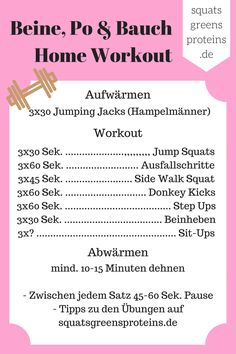 Ich habe ein komplettes Home Workout - Beine, Po und Bauch für euch zusammengestellt. Ihr braucht nichts außer euch selber und ein wenig Motivation!