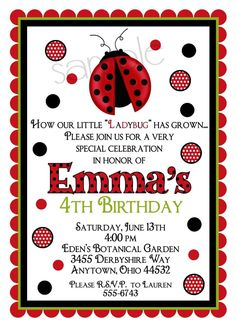 Ladybug invitations, Ladybug birthday party,  Bugs, Baby, Shower, Favor, Label, Tag, Seal, Notecards, Children, Kids, etsykids, custom. $1.59, via Etsy. Ladybug Birthday Invitations, Printable Birthday Invitations, Personalized Invitations, Invites, Bounce House Birthday, 4th Birthday, Birthday Party Themes, Birthday Ideas, Paw Patrol Invitations