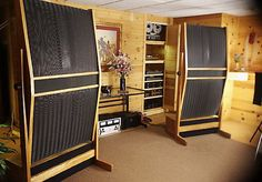 Stacked pair Quad ESL 57 electrostatic speakers gallery   Audio Tweak
