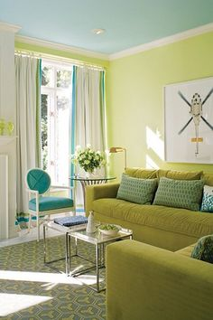 """Blue And Green Living Room h & m home * turquoise & yellow living room""""calamity-jane"""