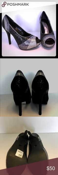 Worthington Heels NWOT. Perfect 4 Christmas or NYE Brand new, never worn. We're too big for me. Pretty sparkles, and peep toe. Worthington Shoes Heels
