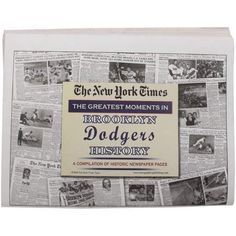 "MLB Brooklyn Dodgers Greatest Moments Newspapers by Football Fanatics. $12.99. Printed newspaper. Measures 15"" x 22"". Brooklyn Dodgers Greatest Moments NewspapersPrinted newspaperMeasures 15"" x 22""Officially licensed MLB productMeasures 15"" x 22""Printed newspaperOfficially licensed MLB product"