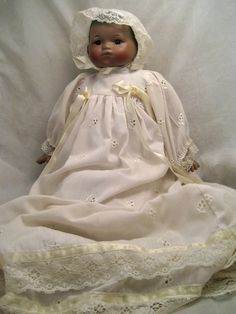 African American Ashley Doll Bye Lo Christening Gown -I lost my doll like this in Hurricane Katrina.