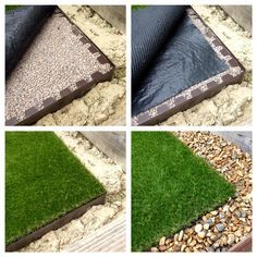 Laying artificial lawns couldnt get easier. Simply prepare the ground and glue onto the steel shelf for a striaght, tidy edge that will not curl up or move #artificiallawns #steeledging