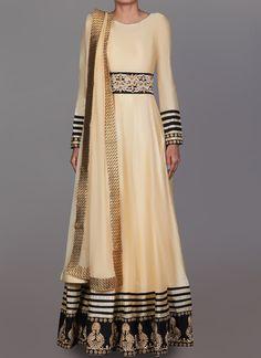 Cream and Black Embroidered Anarkali