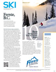 Fernie featured in the Top 10 Best Mountains You've Never Skied