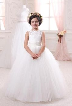 Princess White Ball Gown Flower Girl Dresses Vintage Lace Scoop Bow Back Off The Shoulder Girls Pagent Dresses Toddler Prom Dresses, Pagent Dresses For Girls, Wedding Dresses For Kids, Princess Flower Girl Dresses, Girls Christmas Dresses, Wedding Party Dresses, Homecoming Dresses, Kid Dresses, Tulle Prom Dress