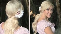 Cute easy romantic half updo with curls for medium long hair tutorial for everyday party Valentines, via YouTube.