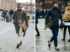 Particularly impressed with the styling chops of guy on the left.. Great use of tweed and a neutral pallet!