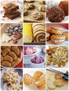 Types Of Cookies; bar cookies, drop cookies, no-bake cookies, rolled cookies, ice-box cookies, sandwich cookies, molded cookies, meringues, pressed cookies, deep-fried cookies, wafers and griddle cookies (waffle cookies).