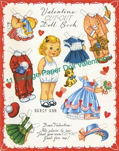 Uncut Valentine Cut-out Paper Doll Book Americard A x 5 uncut french-fold paper doll greeting card. It is Valentine Cut-out Doll Book . Each of the four pages has a different doll with m. Paper Dolls Book, Vintage Paper Dolls, Paper Toys, Paper Crafts, Vintage Valentines, Be My Valentine, Motif Vintage, Paper Dolls Printable, Printable Vintage