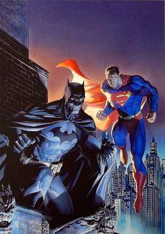 Batman Superman Legendary Heroes Giclée Canvas by Jim Lee Alex Ross AP 24 25 Comic Book Artists, Comic Artist, Comic Books Art, Dc Comics Heroes, Dc Comics Art, Alex Ross, Batman Vs Superman, Batman Comics, Justice League