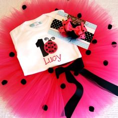 hot pink lady bug birthday ideas | Hot Pink Ladybug Birthday Tutu Set-Personalized Hot Pink Ladybug ...