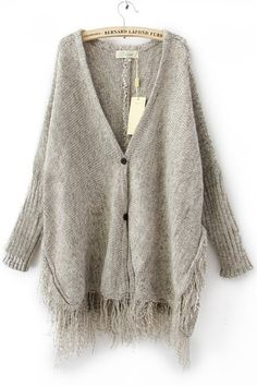Looking for a comfy sweater that goes great with jeans or sweats?  How about this Light Grey Batwing Long Sleeve Tassel Hem Cardigan?