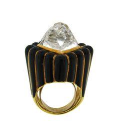 1stdibs - David Webb Rock Crystal, Black Enamel & Yellow Gold Ring explore items from 1,700 global dealers at 1stdibs.com
