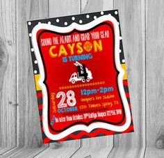 Firefighter Chalkboard Birthday Invite   Check out this item in my Etsy shop https://www.etsy.com/listing/247404307/firefighter-birthday-invite-chalkboard