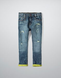 LOW RISE JEANS WITH LIME TURN-UPS - Jeans - Boy (2-14 years) - Kids - ZARA
