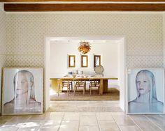 Artwork prominently at the entrance of the dining room. #interior #design #decor #art #casadevalentina