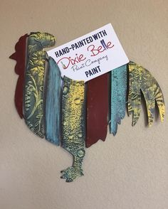 Metal rooster painted with Dixie Belle Chalk paint #dixiebellepaint