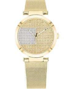 TOMMY HILFIGER 1781867 Gold Watches Women, Rose Gold Watches, Mesh Bracelet, Bracelet Watch, Sleek Rose Gold, Oversized Watches, Tommy Hilfiger Damen, Stainless Steel Mesh, Fashion Watches