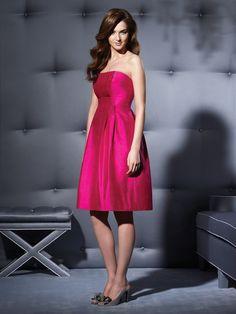 Cocktail Length #Strapless Tutti Frutti Shantung #Empire #Bridesmaid #Dress