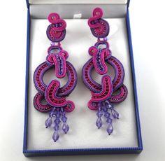 Long earrings soutache
