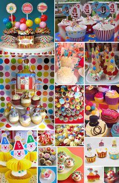 Invitaciones para cumpleanos, invitaciones de cumpleanos, invitaciones de quinceanos, cupcakes estilo circo, fiesta de circo