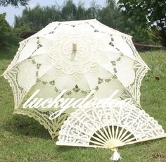 Handmade Cotton Lace Parasol Umbrella Hand Fan Wedding Birthday Party Decoration | eBay